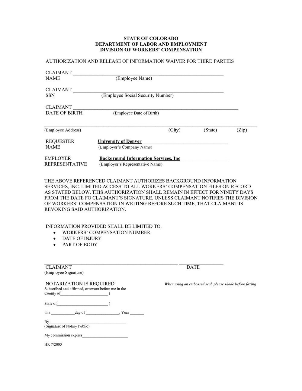 Workers Comp Exemption form Michigan Workmans P Waiver form forms 7055
