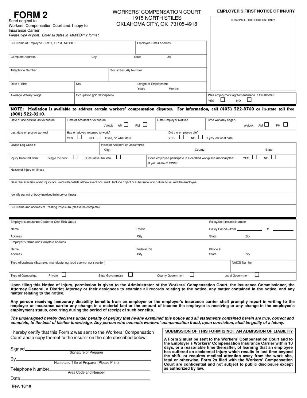 Workers Comp Waiver form Oklahoma Workers P Claim form Indiana forms 6769