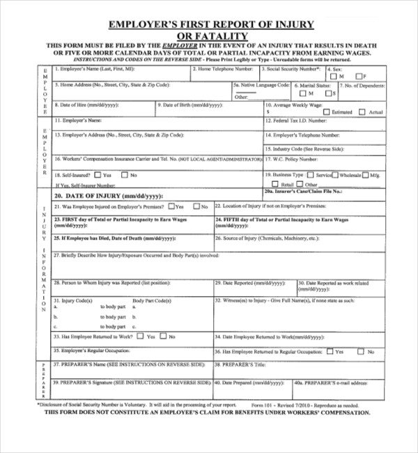Workers Compensation Waiver form Texas 11 Sample Workers Pensation forms