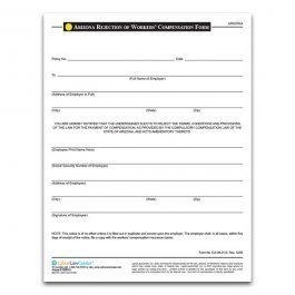 Workers Compensation Waiver form Texas Arizona Rejection Of Workers Pensation form