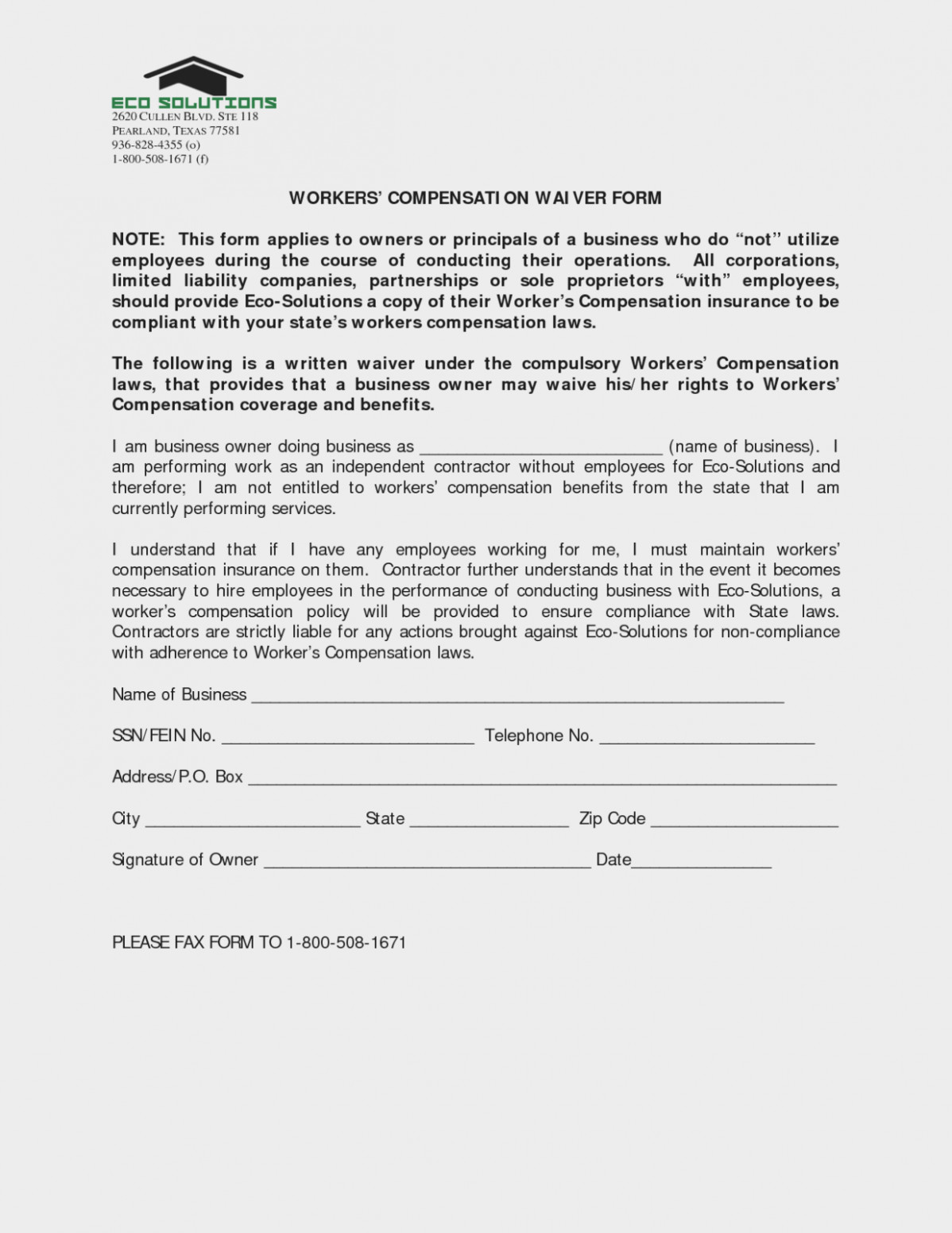 Workers Compensation Waiver form Texas Workers P Waiver form Texas