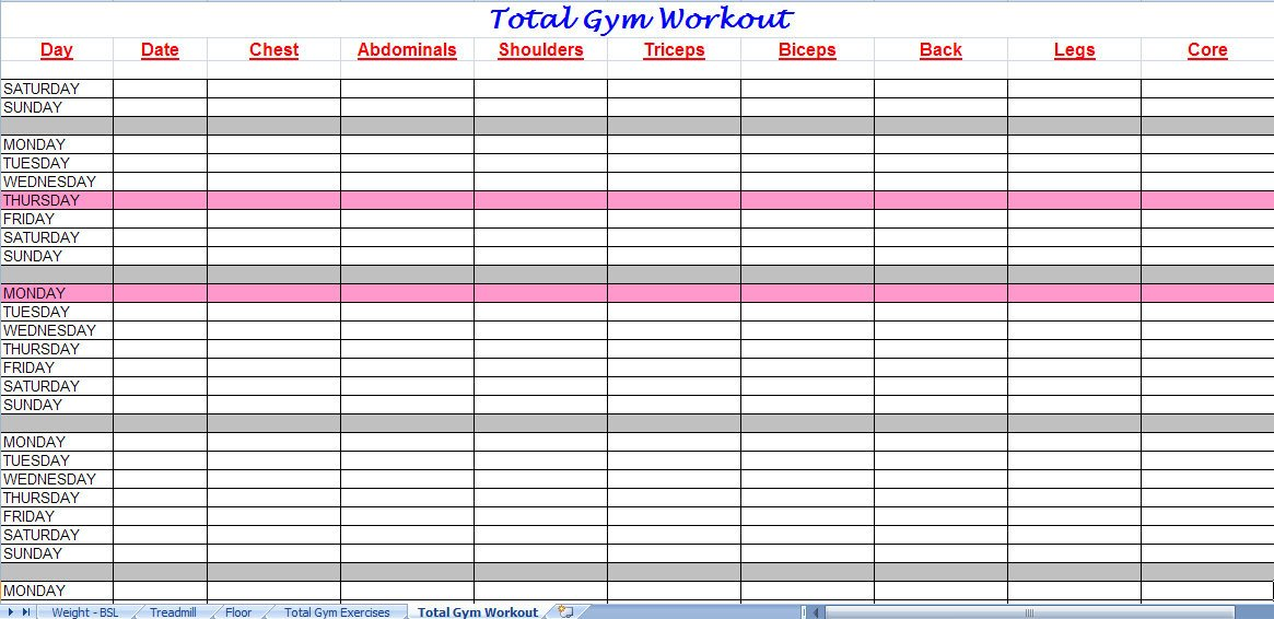 Workout Log Template Excel 3 Excel Workout Templates Excel Xlts