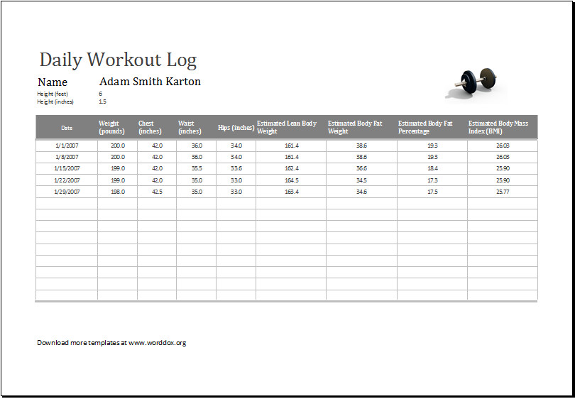 Workout Log Template Excel Daily Workout Log Ms Excel Editable Printable Template