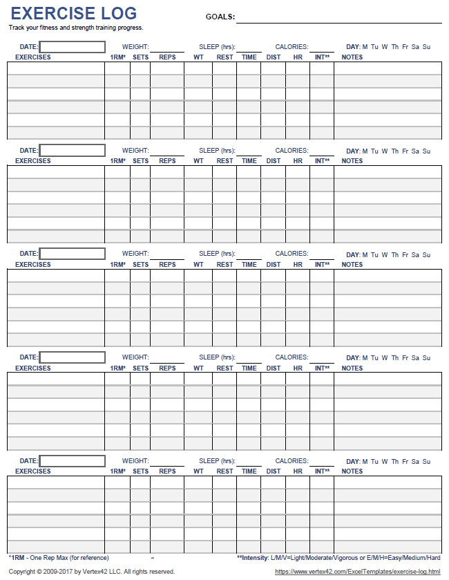 Workout Log Template Excel Free Printable Exercise Log and Blank Exercise Log Template