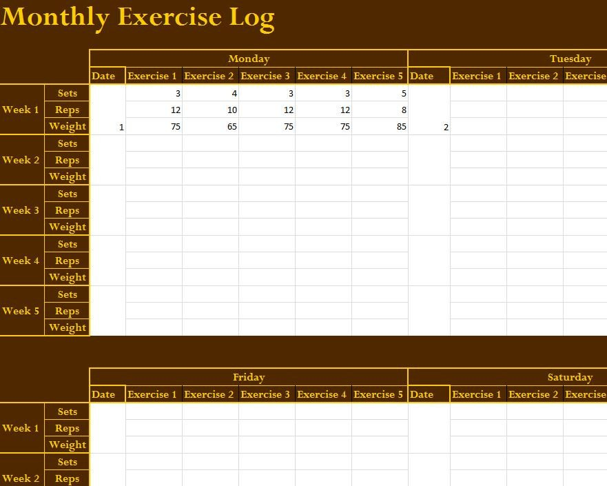 Workout Log Template Excel Monthly Exercise Log My Excel Templates