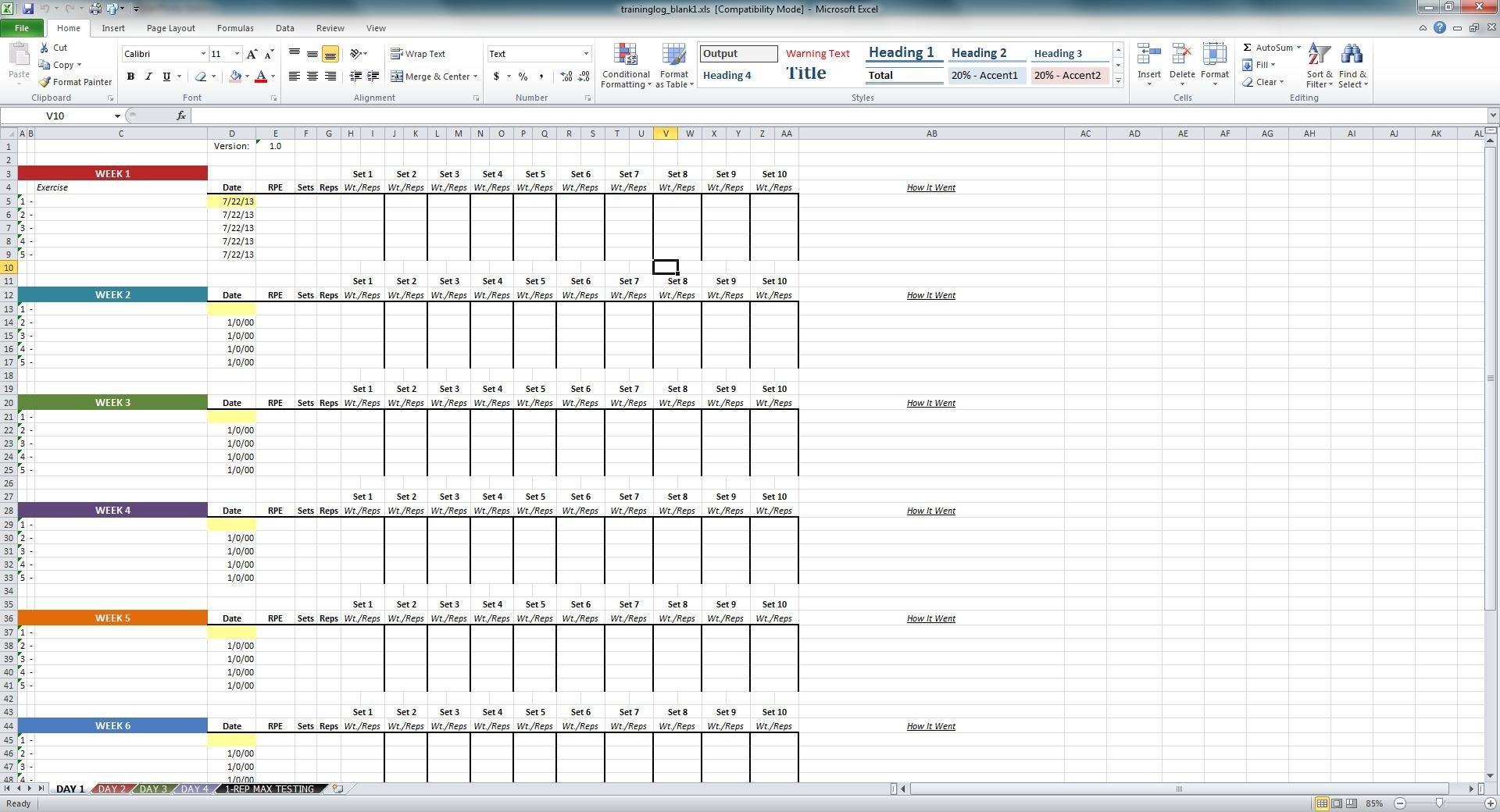 Workout Log Template Excel Niel K Patel Download Training Log Spreadsheet