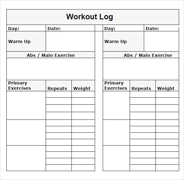 Workout Log Template Excel Sample Workout Log Template 8 Download In Word Pdf Psd