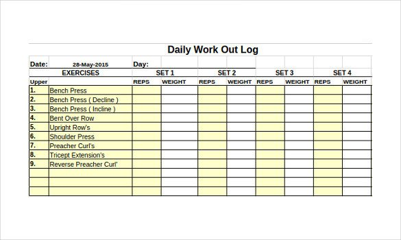 Workout Log Template Excel Workout Log Template – 14 Free Word Excel Pdf Vector