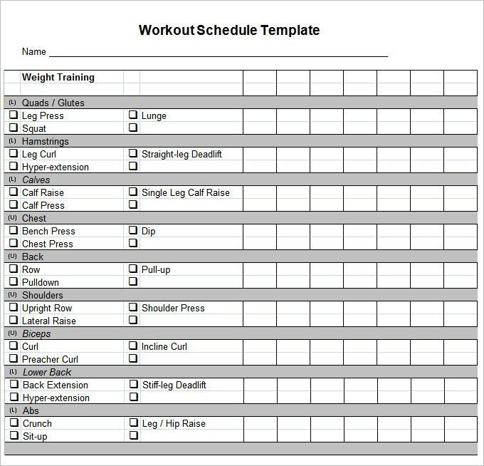 Workout Log Template Excel Workout Schedule Template 10 Free Word Excel Pdf