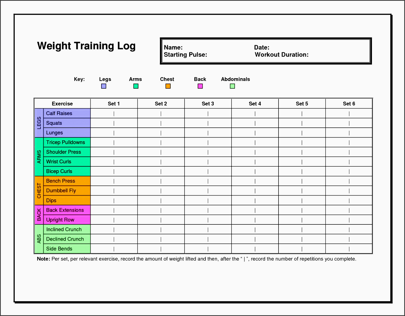 Workout Plan Template Excel 7 Exercise Planner Template In Excel Sampletemplatess