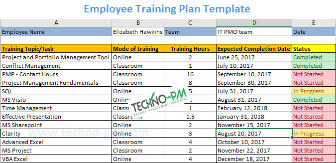 Workout Plan Template Excel Employee Training Plan Excel Template Download Project