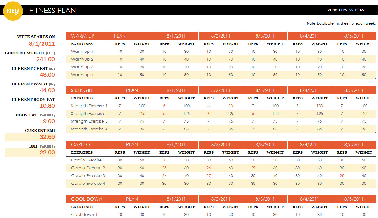 Workout Plan Template Excel Fitness Plan Excel Template