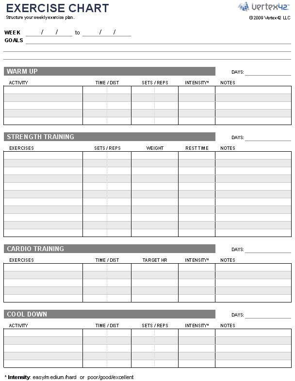 Workout Plan Template Excel Free Exercise Chart or Ms Excel Use This Template to