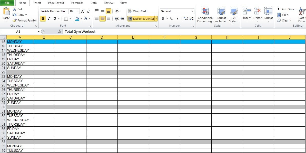 Workout Plan Template Excel Gym Workout Plan Spreadsheet for Excel Excel Tmp