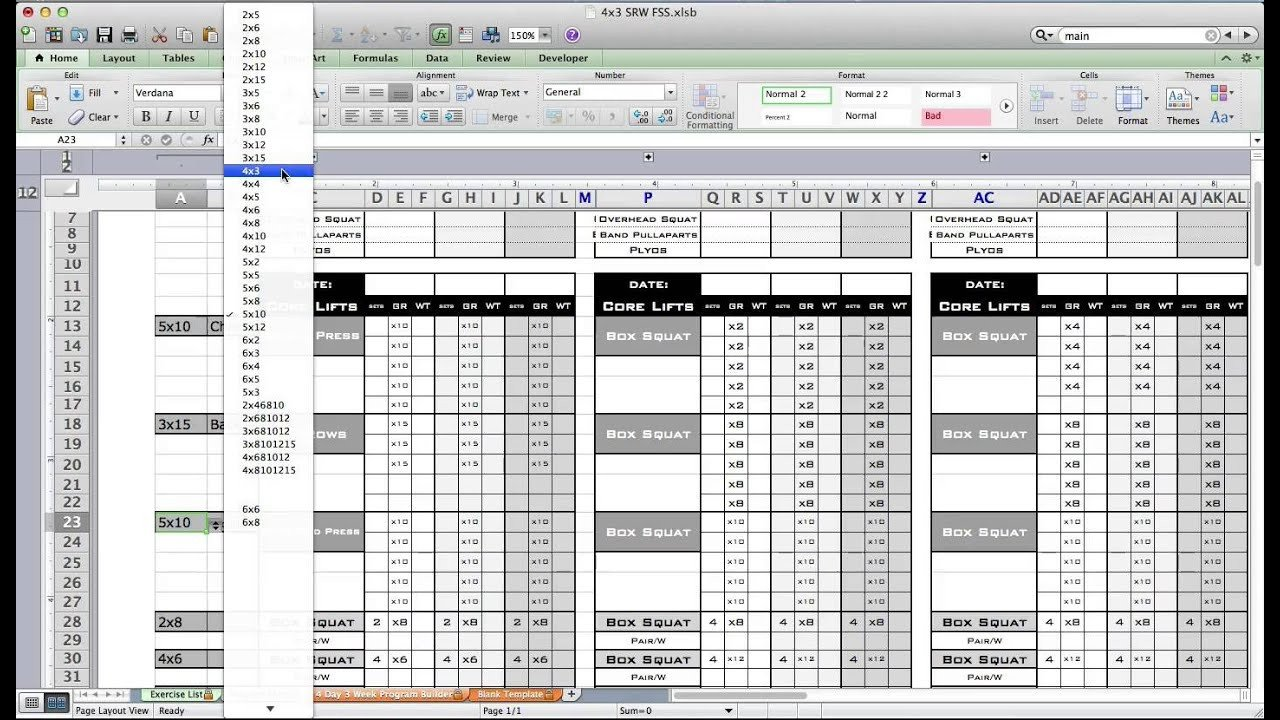 Workout Plan Template Excel Pt Fitness Excel Workout Template From Excel Training