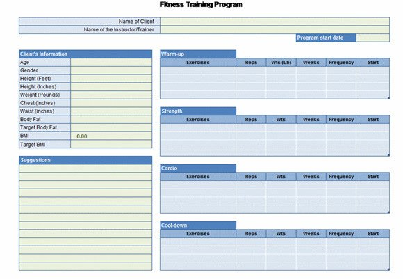 Workout Plan Template Excel Workout Chart for Excel