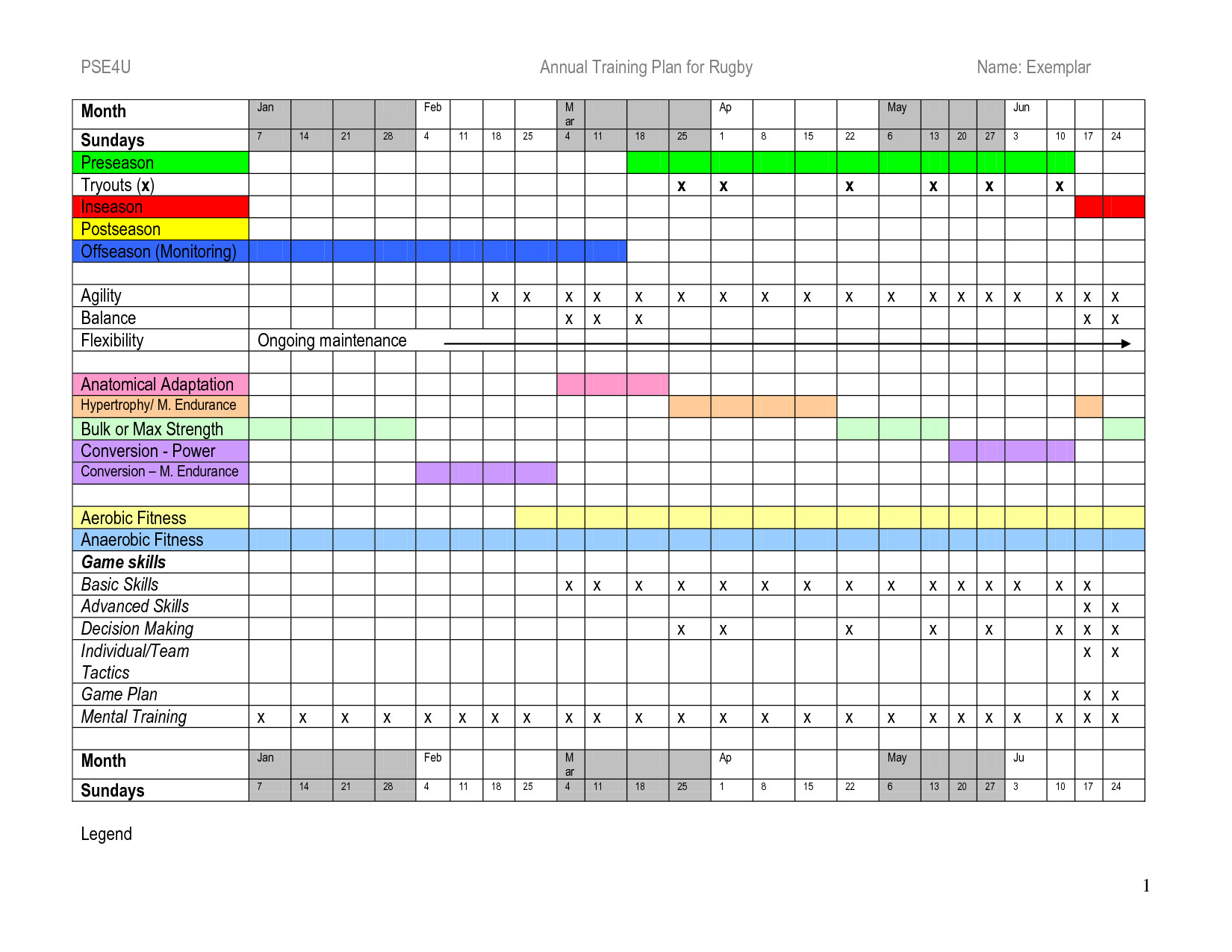 Workout Schedule Template Excel Annual Training Plan Template Excel