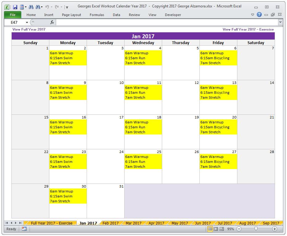 Workout Schedule Template Excel Calendar Year 2017 Excel Fitness Calendar Template