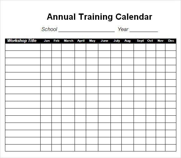Workout Schedule Template Excel Training Calendar Template 17 Free Download for Pdf