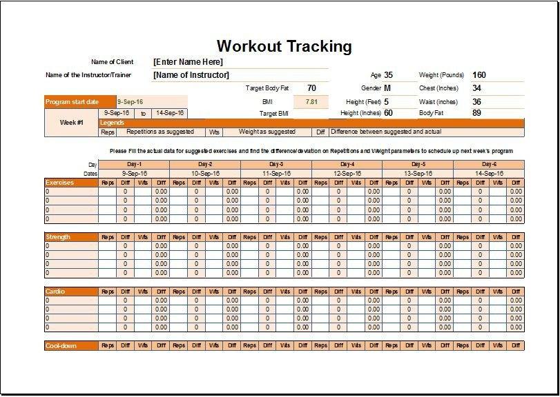 Workout Schedule Template Excel Workout Schedule & Tracker Template for Excel