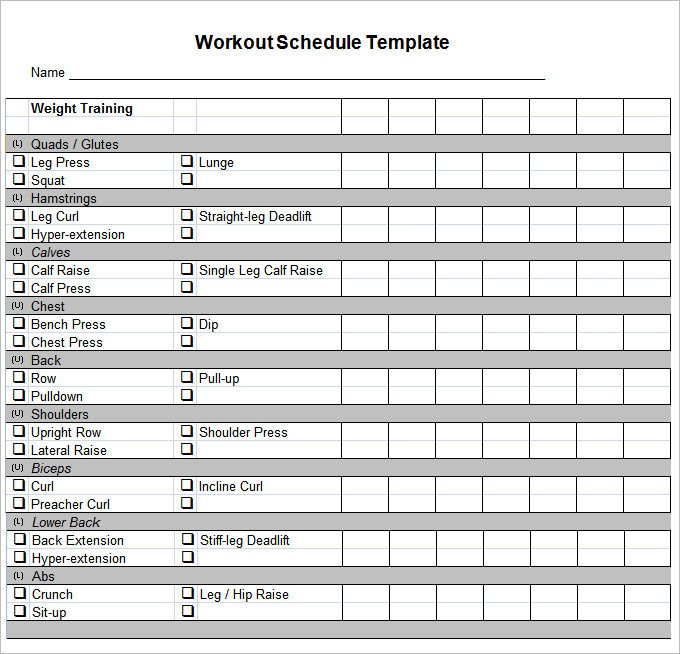 Workout Schedule Template Excel Workout Schedule Template 27 Free Word Excel Pdf