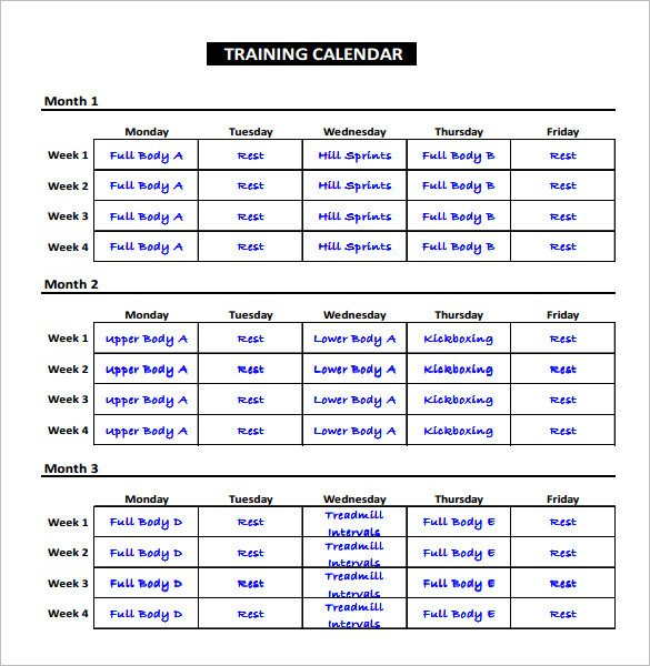 Workout Schedule Template Excel Workout Schedule Template Excel – Printable Schedule Template