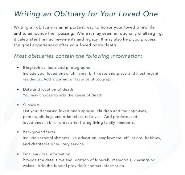 Writing An Obituary Template 11 Obituary Writing Template – Free Sample Example