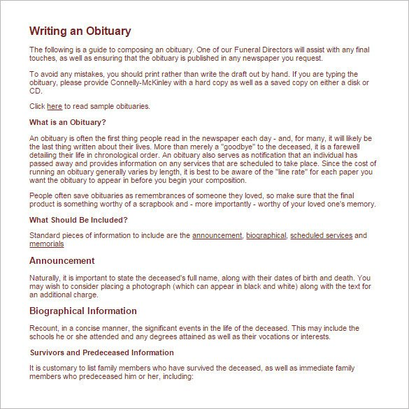 Writing An Obituary Template How to Write An Obituary for Mother