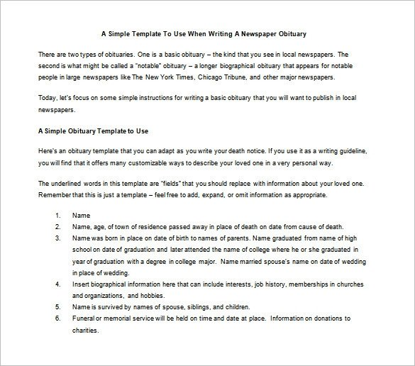 Writing An Obituary Template Sebata Writing An Obituary with Ms Word Structure Methods