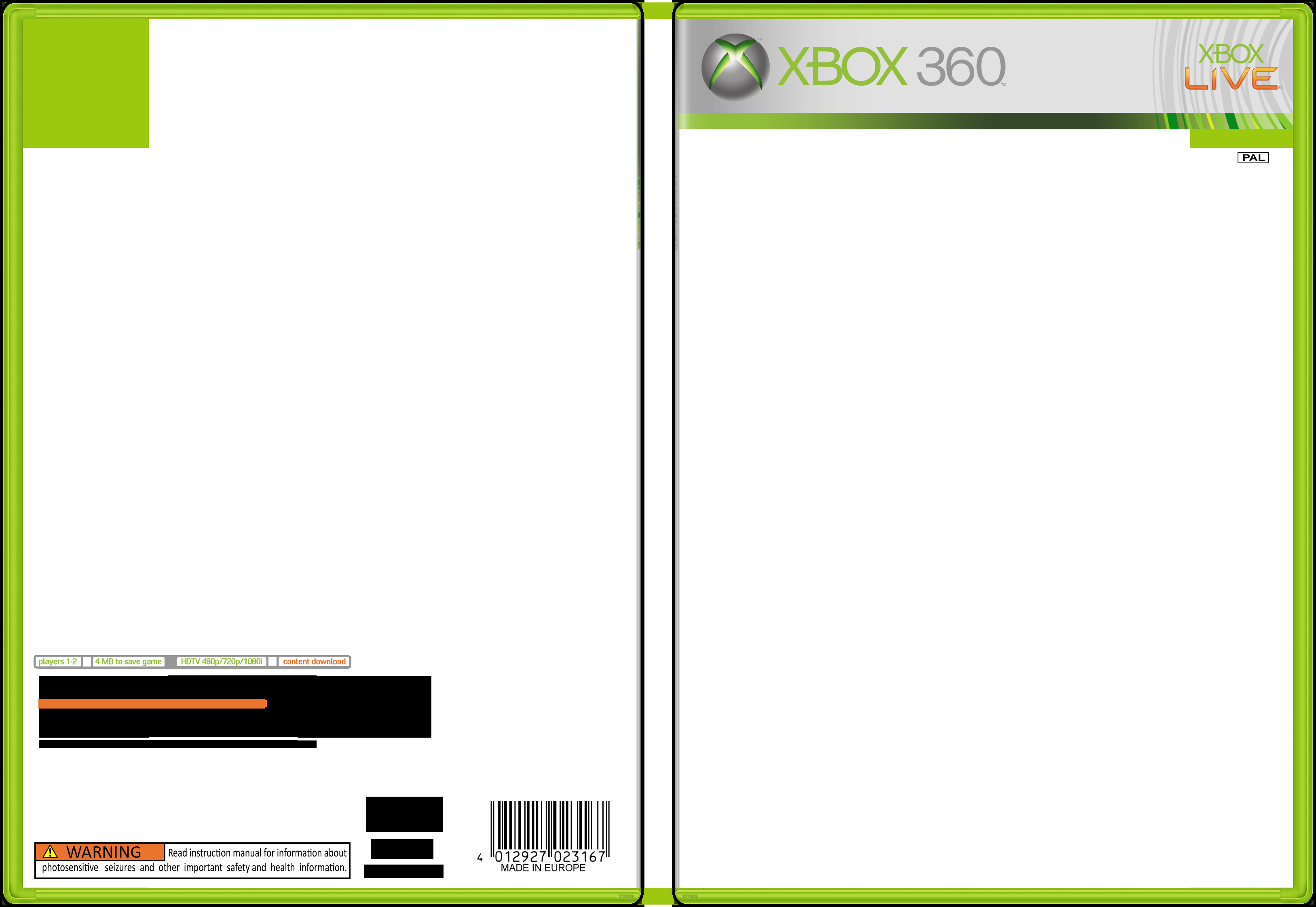 Xbox 360 Cover Template Game Packaging Template