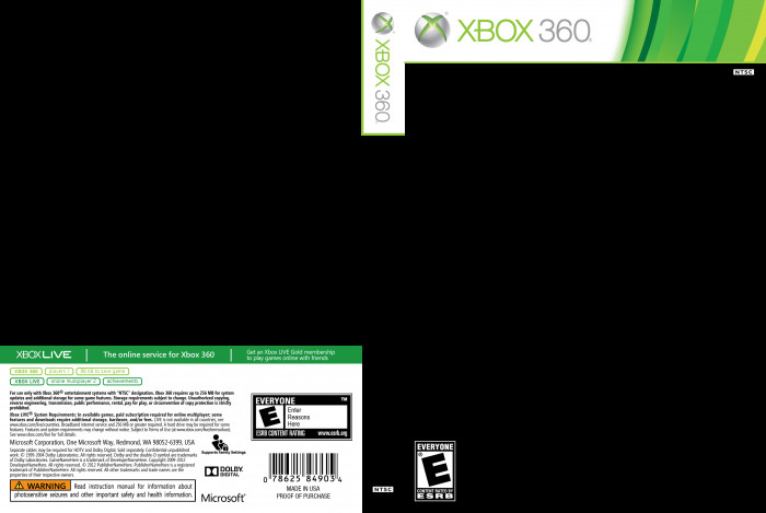 Xbox 360 Cover Template Xbox 360 2013 Template Template