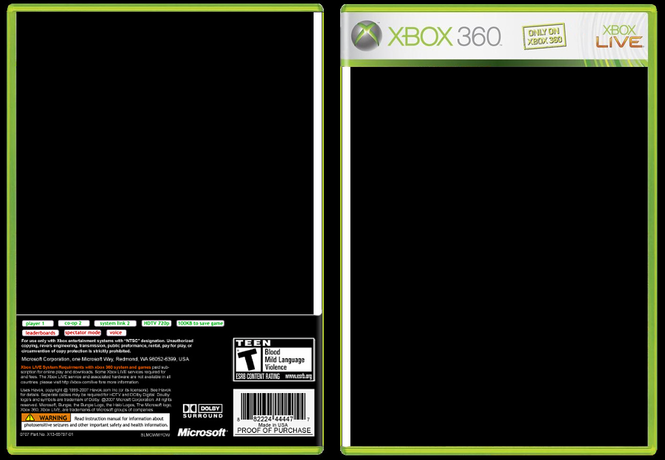Xbox 360 Cover Template Xbox 360 Back Template