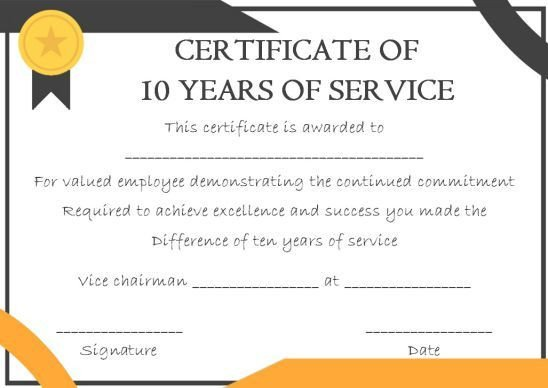 Years Of Service Certificate Template 10 Years Service Award Certificate 10 Templates to Honor