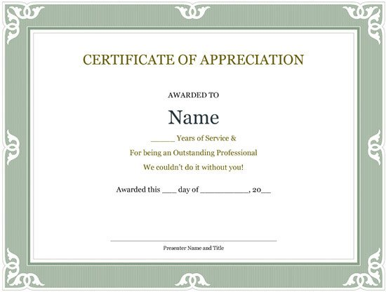 Years Of Service Certificate Template 5 Printable Years Of Service Certificate Templates – Word