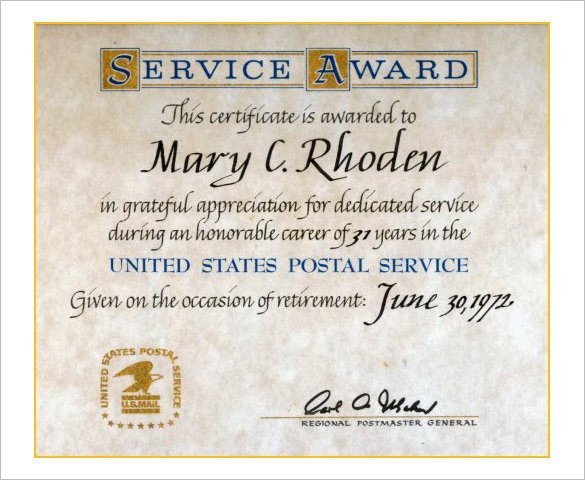 Years Of Service Certificate Template 9 Retirement Certificate Templates Doc Pdf