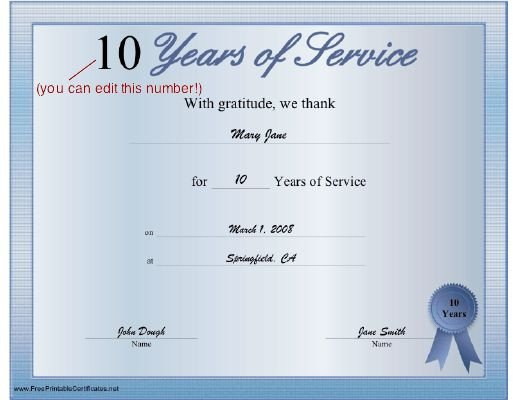 Years Of Service Certificate Template A Printable Certificate Thanking the Recipient for Any