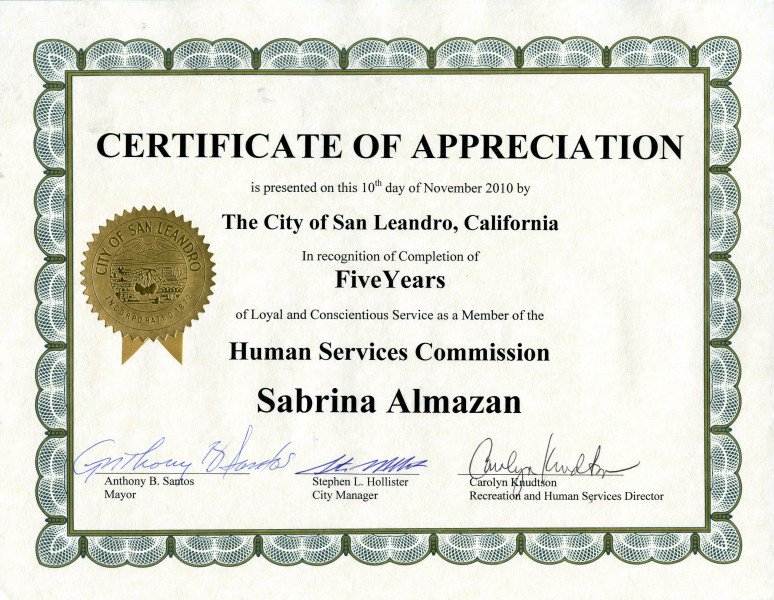 Years Of Service Certificate Template Awards & Certifications