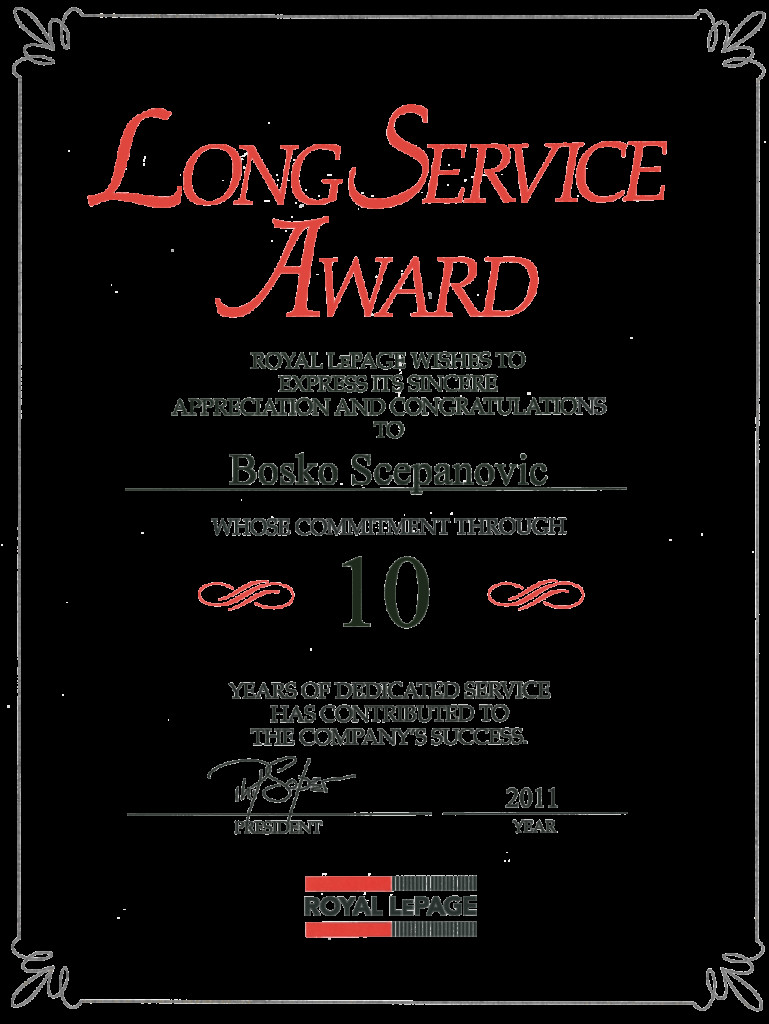Years Of Service Certificate Template Certificate Of Long Service Award Template