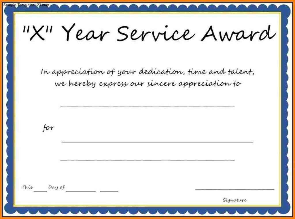 Years Of Service Certificate Template Certificate Templates