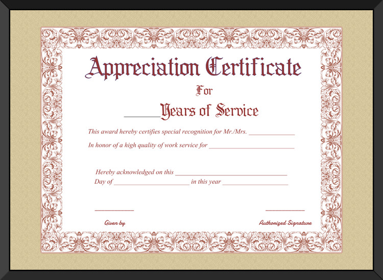 Years Of Service Certificate Template Free Printable Appreciation Certificate for Years Of Service