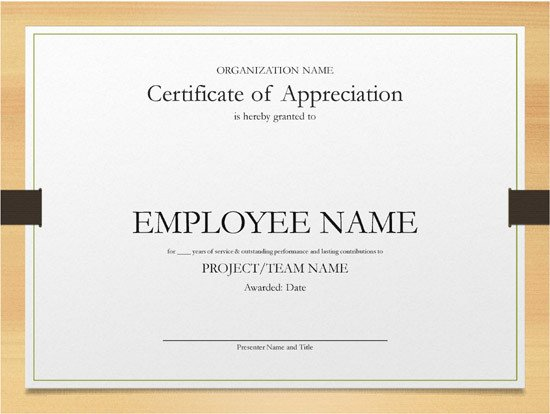 Years Of Service Certificate Template Printable Word and Excel Examples