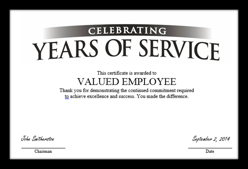 "Years Of Service Certificate Template Tag Archive for ""employee Anniversary"" Recognizethis Blog"