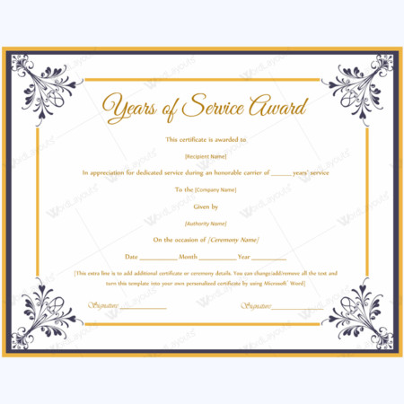 Years Of Service Certificate Template Years Of Service Award Certificate Templates Word Layouts