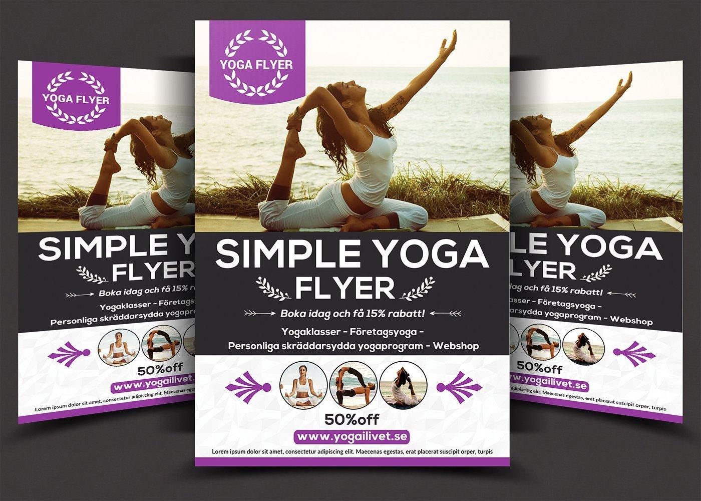 Yoga Flyers Free Template Simple Yoga Flyer Flyer Templates Creative Market