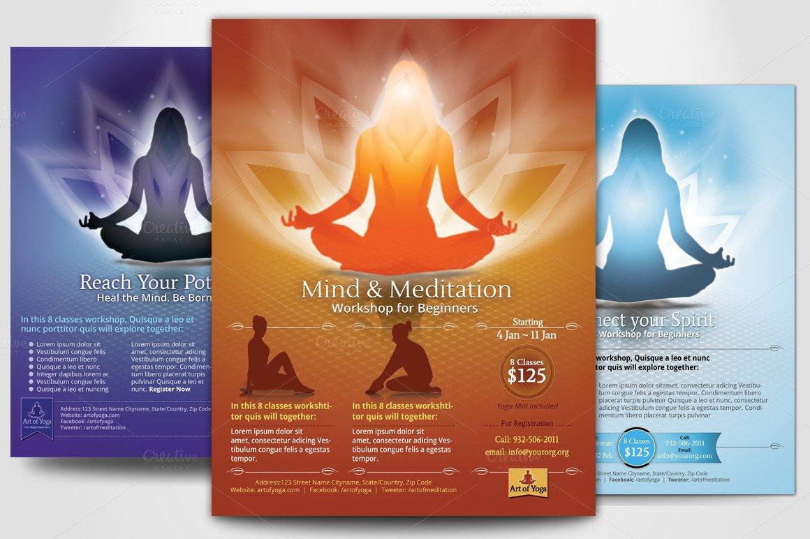 Yoga Flyers Free Template Simple Yoga Meditation Flyers Flyer Templates On