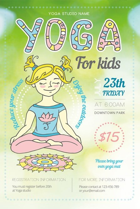 Yoga Flyers Free Template Yoga for Kids Flyer Template 1 Best Of Flyers