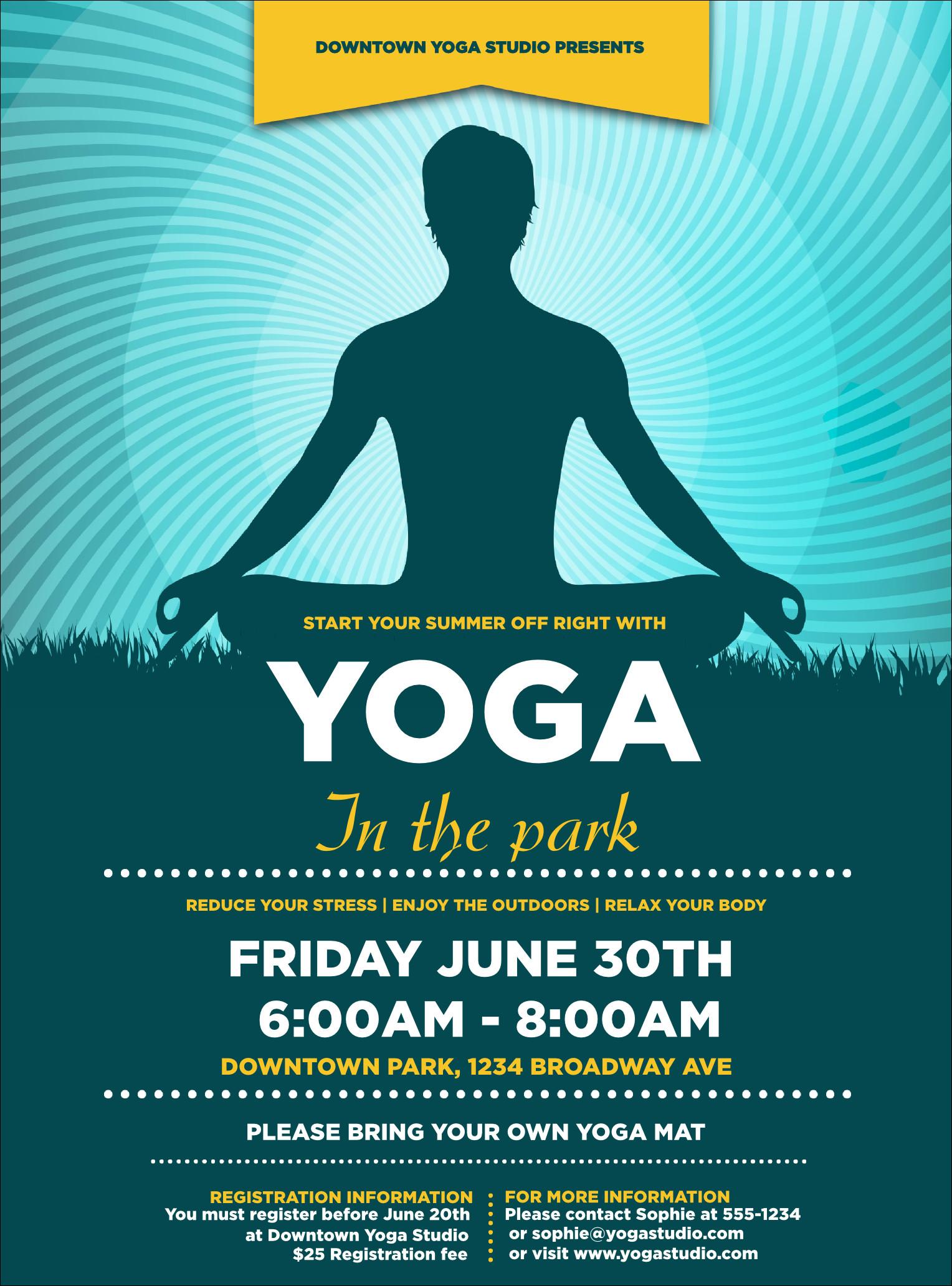 Yoga Flyers Free Template Yoga Meditation Flyer