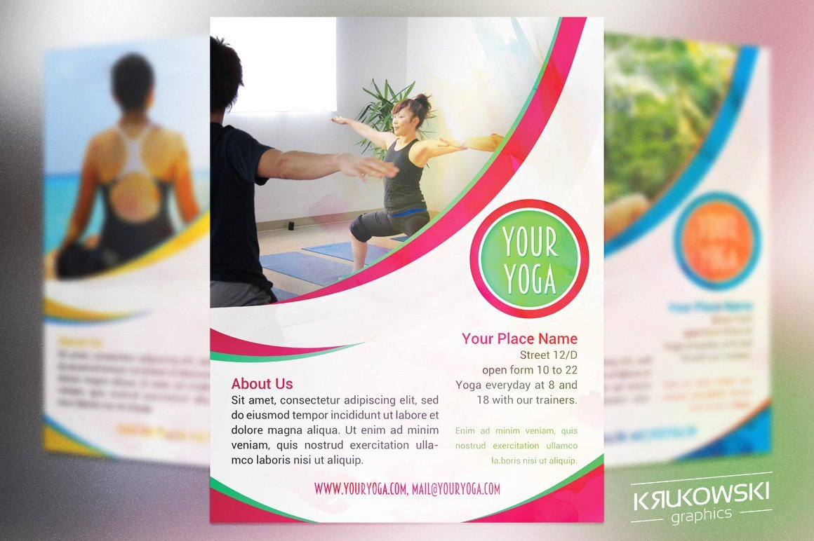 Yoga Flyers Free Template Your Yoga Flyer Template Flyer Templates Creative Market