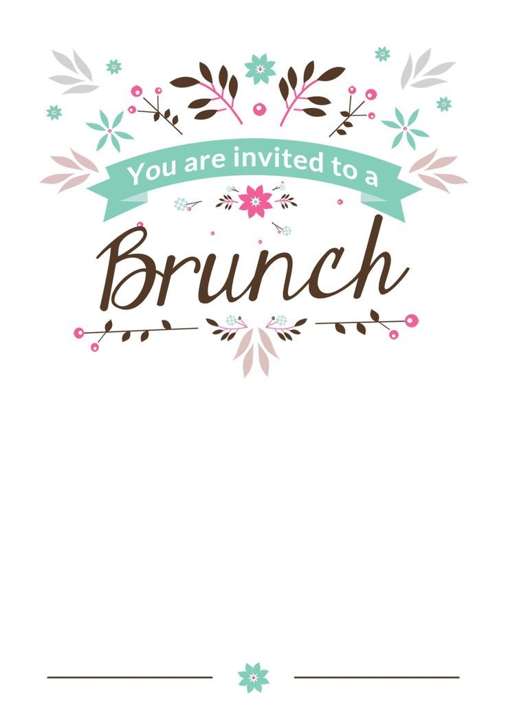 You are Invited Template Flat Floral Free Printable Brunch Invitation Template