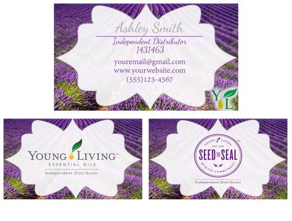 Young Living Business Card Template Young Living Business Cards Lemon Lavender or Peppermint